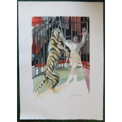 Camille HILAIRE - Lithograph : The Tiger
