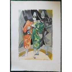 Camille HILAIRE - Lithograph : Musician clown
