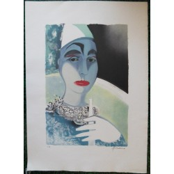 Camille HILAIRE - Lithograph : The clown Pierrot