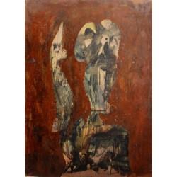 Simon HANTAI - Oil on paper : Andre Breton