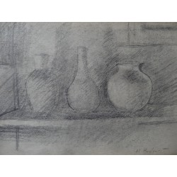 Henryk BERLEWI - Original signed drawing : Still life with three pots