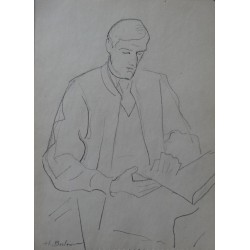 Henryk BERLEWI - Original signed drawing : Reading man