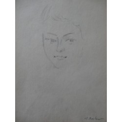 Henryk BERLEWI - Original signed drawing : Portrait of a young man