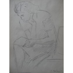 Henryk BERLEWI - Original signed drawing : Reading woman