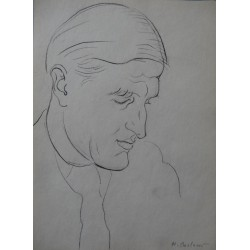 Henryk BERLEWI - Original signed drawing : Profile of a man