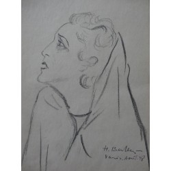 Henryk BERLEWI - Signed drawing : An actress