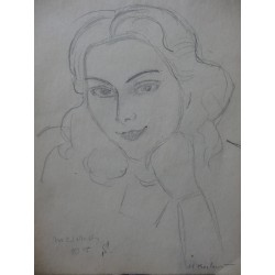 Henryk BERLEWI - Signed drawing : Leaning woman