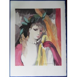 Marie Laurencin - Lithograph : The pearl necklace