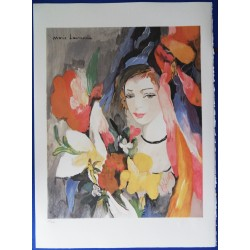 Marie Laurencin - Lithograph : Young girl with flowers