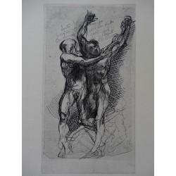 Auguste RODIN - Etching : Dante & Virgilus