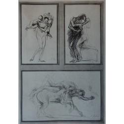 Auguste RODIN - Etching : Three mythological studies