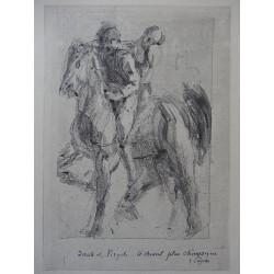 Auguste RODIN - Etching : Dante & Pegasus