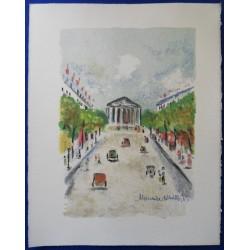 Maurice UTRILLO - Lithograph : La Madeleine