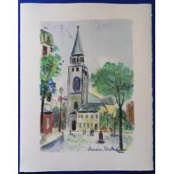 Maurice UTRILLO - Lithograph : St Germain des Pres