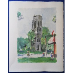 Maurice UTRILLO - Lithograph : St Jacques tower