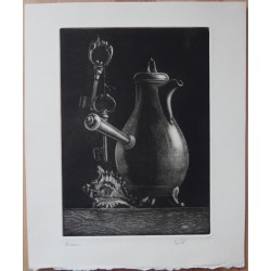 Gilbert POILLERAT - Signed etching : The coffee pot