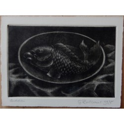 Gilbert POILLERAT - Signed etching : Still life with a fish