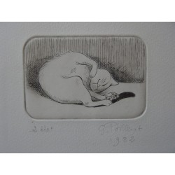 Gilbert POILLERAT - Signed etching : Sleeping of the cat