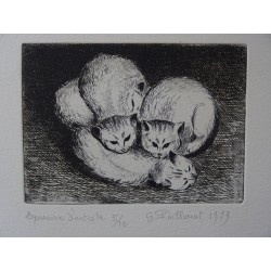 Gilbert POILLERAT - Signed etching : Three and a half baby cats