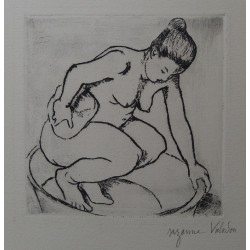 Suzanne VALADON - Signéed etching : Catherine at the bath