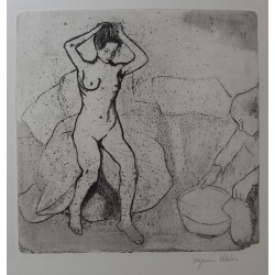Suzanne VALADON - Signed etching : Catherine is preparing the bath and nude Louise is combing her hair