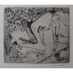 Suzanne VALADON - Signed etching : Women and child near the waterfront