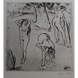 Suzanne VALADON - Signed etching : Nude women under the trees