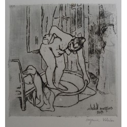 Suzanne VALADON - Signed etching : Catherine is mopping