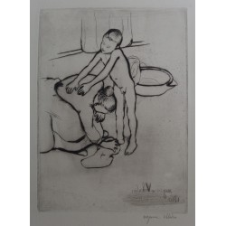 Suzanne VALADON - Signed etching : Catherine and young boy