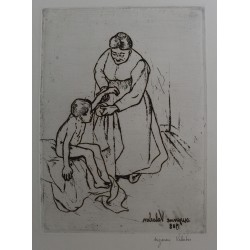 Suzanne VALADON - Signed etching : Grandmother and child
