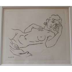 André LHOTE : Signed etching - Lying nude