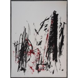 Joan MITCHELL - Lithograph : Trees in red