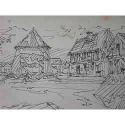 Jacques VILLON - Signed drawing : Old farm in Normandy
