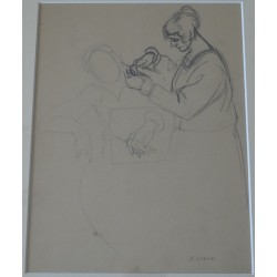 André LHOTE - Signed drawing : The hairdresser
