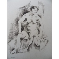 André LHOTE - Signed drawing : Sitted model