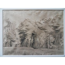 André LHOTE - Signed drawing : The forrest