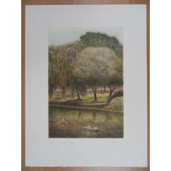 Harold ALTMAN - Lithograph : Central Park - The Lake