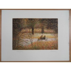 Harold ALTMAN - Lithograph : Central Park - The Fall