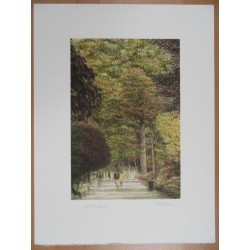 Harold ALTMAN - Lithograph : Walking in Central Park