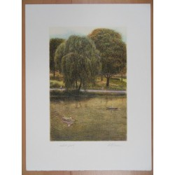 Harold ALTMAN - Lithograph : Central Park - The Boats