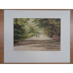 Harold ALTMAN - Lithograph : Central Park - The horses