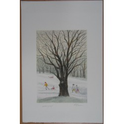 Harold ALTMAN - Lithograph : Winter in the Park