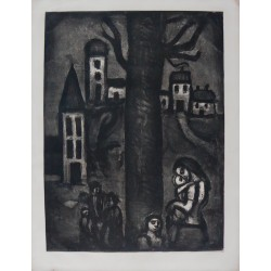 Georges ROUAULT - Etching (Miserere) : The Neighborhood of The Long Suffering