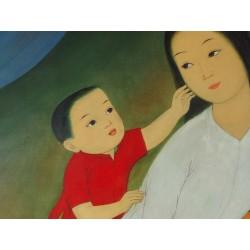 Mai Thu - Gouache et aquarelle sur soie : Mère et enfant