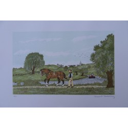 Vincent HADDELSEY - Lithograph : Towpath horse