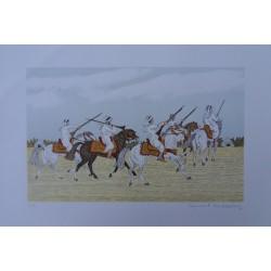 Vincent HADDELSEY - Lithograph : Desert horseriders