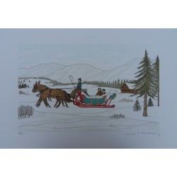 Vincent HADDELSEY - Lithograph : The sledge