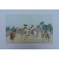 Vincent HADDELSEY - Lithograph : Mexico : the Gauchos