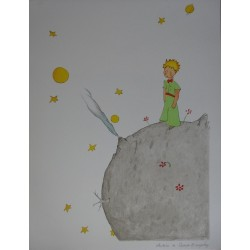 Antoine de Saint Exupéry - Lithograph : Little Prince on his planet