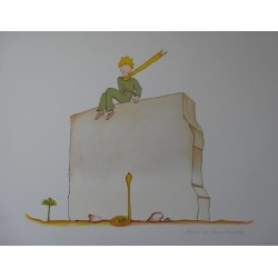 SAINT EXUPERY - Lithograph : Little Prince and the snake